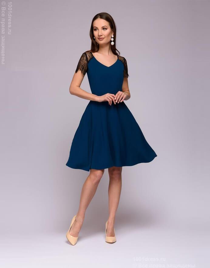 dd84f242495 Платье-мини цвета морской волны с кружевными рукавами