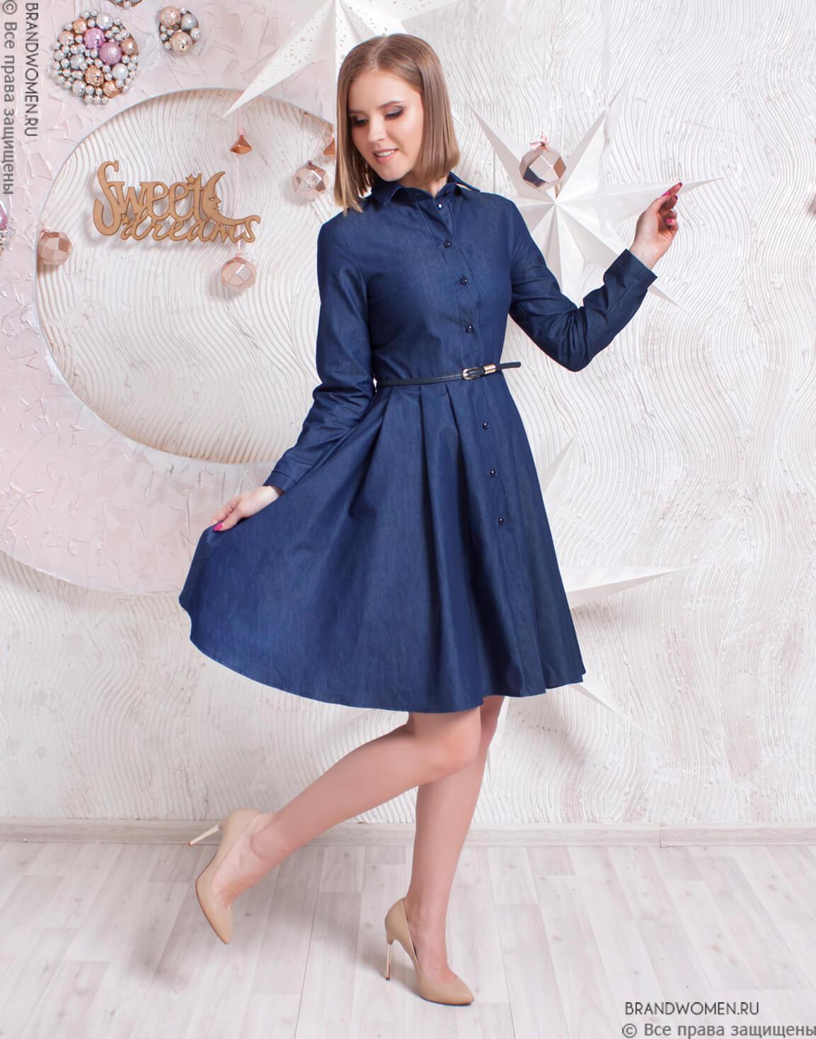 a1f0a1fbf69b317 Джинсовое платье-мини на пуговицах