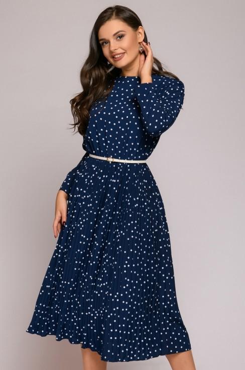 Платье-миди свободного кроя в горошек