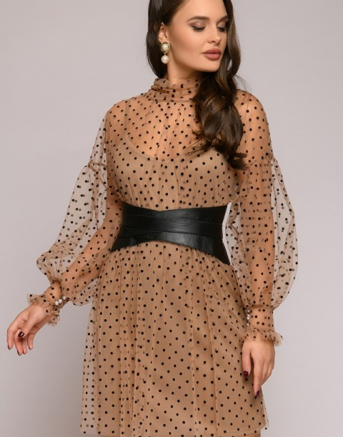 Двухслойное платье мини с рукавами буфами