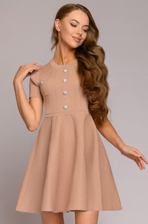 Вязаное платье-мини с пуговицами