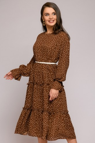Платье-миди свободного силуэта с рюшами