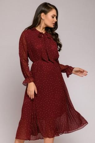 Платье-миди свободного кроя с бантом