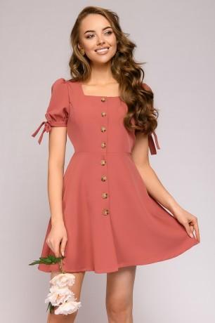 Платье-мини с пуговицами и рукавами-фонариками