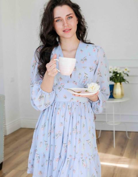 Платье-мини с V-образным вырезом и длинным рукавом