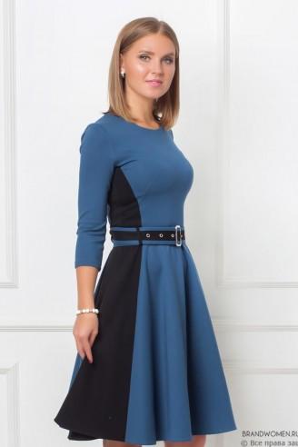 Двухцветное платье-мини с юбкой-солнце и поясом