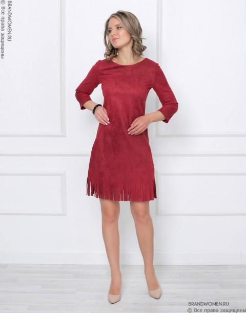 Платье-мини с бахромой по низу