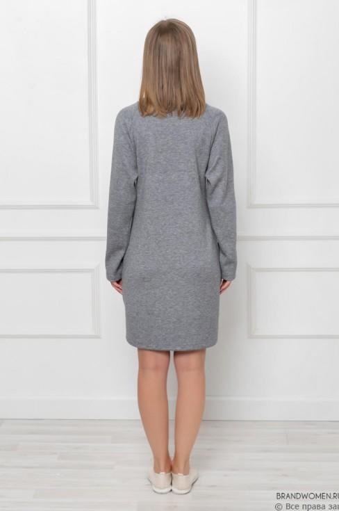 Платье-мини прямого кроя с карманами
