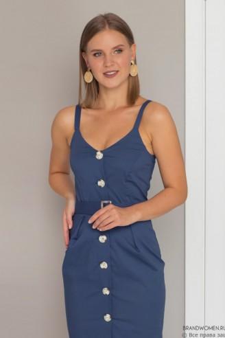 Платье на бретелях с разрезом спереди