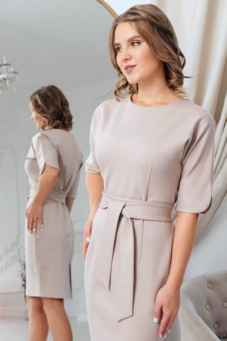 Трикотажное платье-футляр с разрезами на рукавах