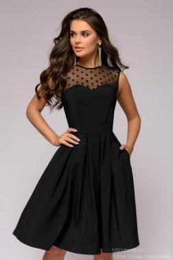 Черное платье-мини с вставкой из сетки