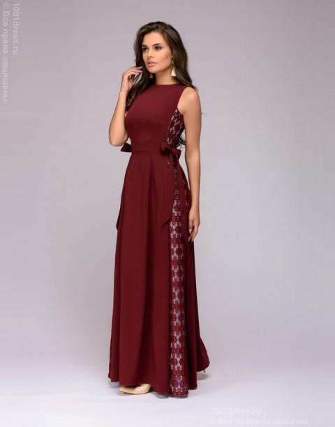Платье-макси с кружевными вставками