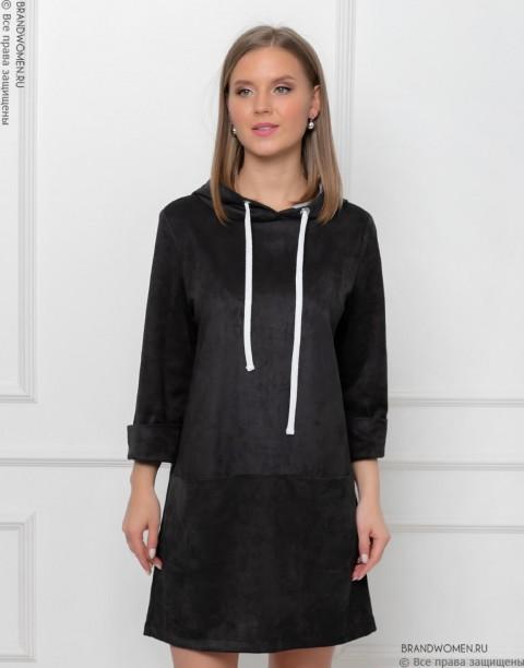 Замшевое платье-худи с капюшоном