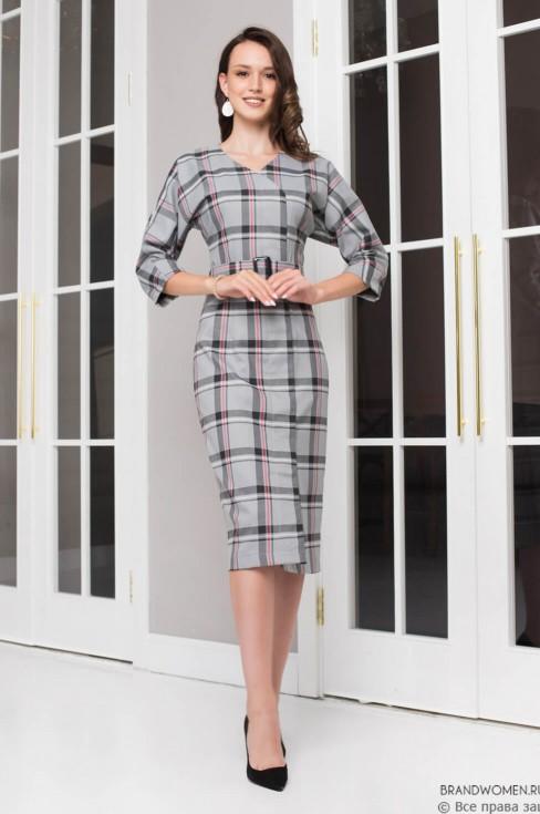 Платье-футляр на запах с потайной застежкой