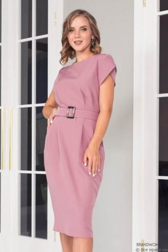 Платье-футляр с поясом и фигурными рукавами