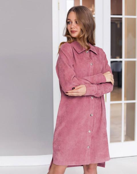 Платье-рубашка длины мини из вельвета