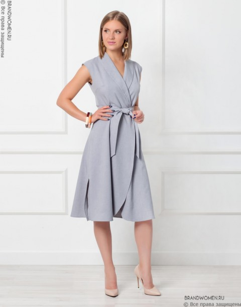 Платье длины миди на запах с поясом