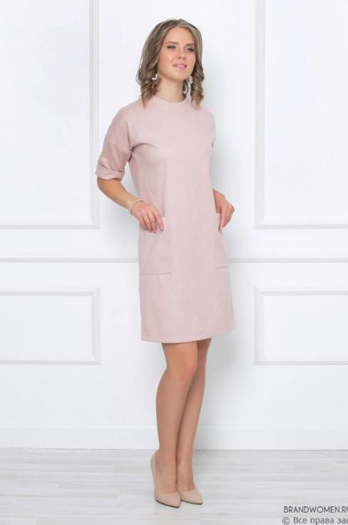 Платье длины мини прямого кроя с карманами