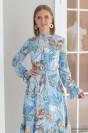 Платье-миди с воланом на рукавах и юбке