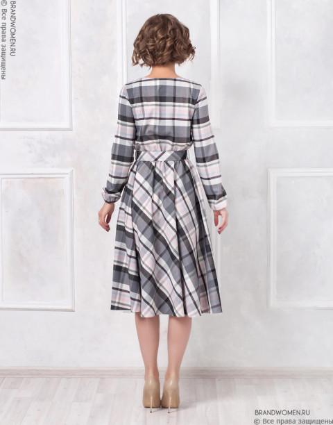 Платье длины миди с юбкой солнце и поясом