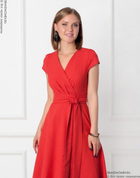 Платье-халат с коротким рукавом и поясом