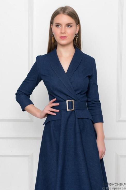 Джинсовое платье-миди с имитацией карманов