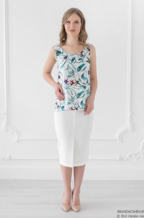 Блуза свободного кроя без рукавов