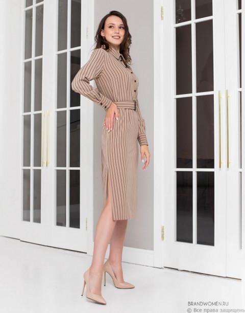 Платье-рубашка в полоску длины миди