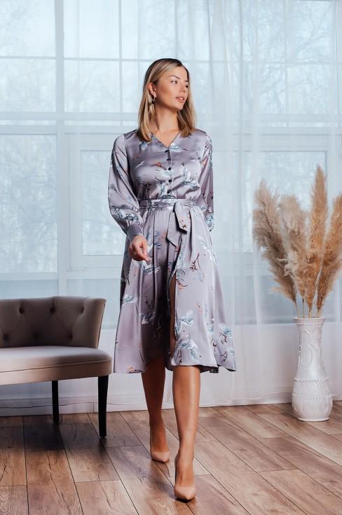 Платье-миди с длинным рукавом и разрезом