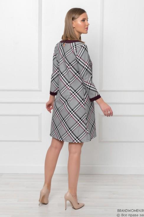 Платье А-силуэта с контрастной отделкой