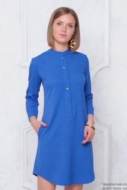 Льняное платье-мини на пуговицах