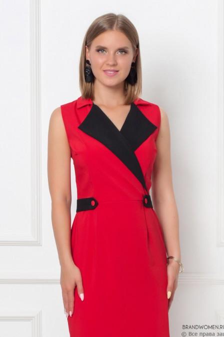 Платье-футляр без рукавов с отложным воротником