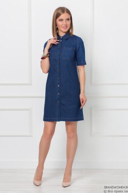 Платье-рубашка прямого кроя из джинсы