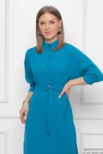 Платье-миди с отложным воротником и разрезами по бокам