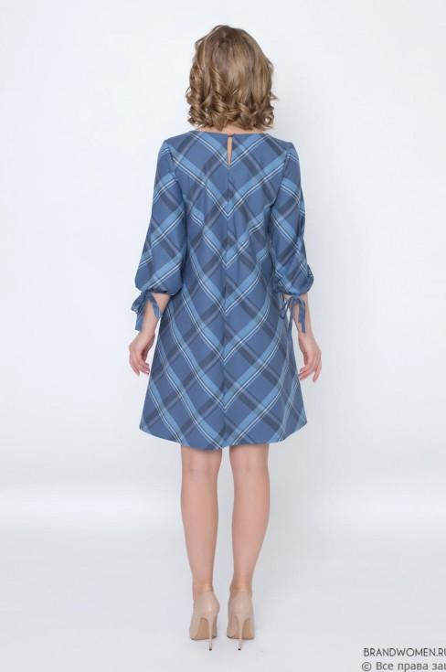 Платье-трапеция с поясом и завязками на рукавах
