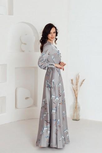 Платье-макси с разрезом и длинными рукавами