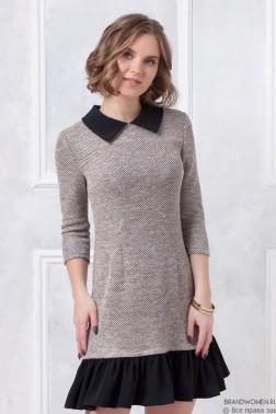 Платье-мини с воротником и оборкой по низу