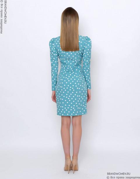 Платье-футляр с эффектом запаха и длинными рукавами
