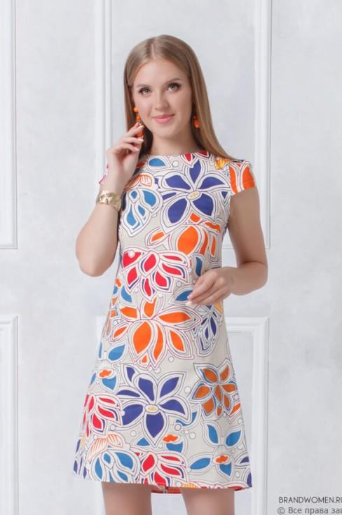 Платье трапеция длины мини с рукавами крылышки
