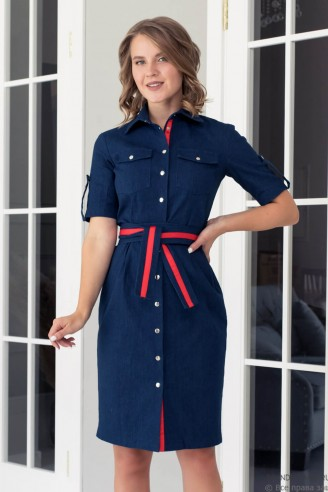 Джинсовое платье-футляр на кнопках