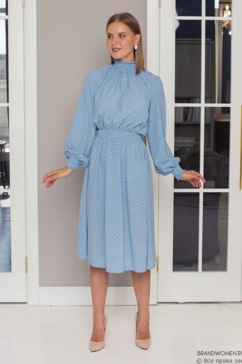 Платье-миди на резинке в горошек