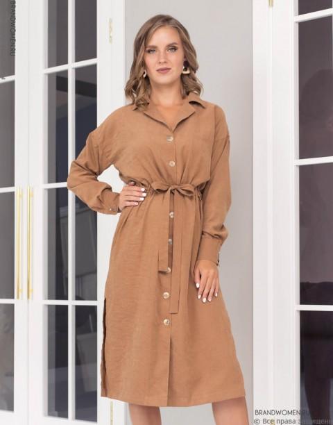 Платье длины миди на кулиске и пуговицах