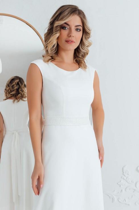 Платье в пол без рукавов с поясом