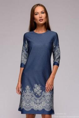 Платье-мини с имитацией вышивки