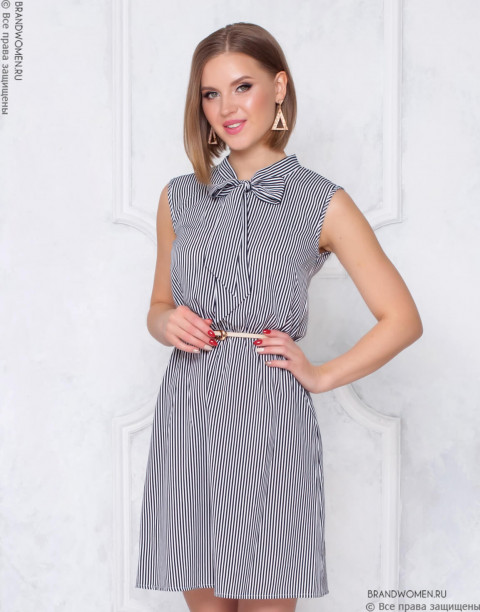 Платье-мини с бантом на вороте