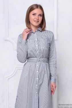 Платье-рубашка с поясом длины миди