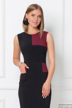 Платье-футляр без рукавов с контрастными вставками