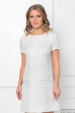 Платье-мини из твида с коротким рукавом