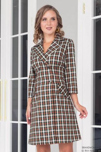 Платье-пиджак в клетку длины мини