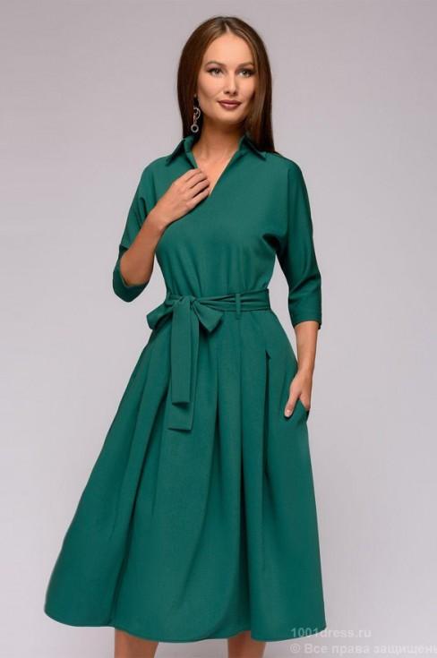 Платье с отложным воротником и рукавом